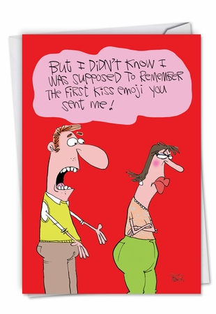 Hilarious Valentine's Day Card From NobleWorksInc.com - First Kiss Emoji