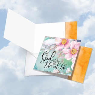 Beautiful Blank Sympathy Square-Top Card From NobleWorksInc.com - Floral Condolences Eternal Life