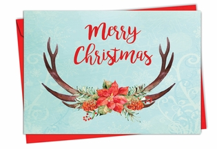Beautiful Christmas Card From NobleWorksInc.com - Floral Horns
