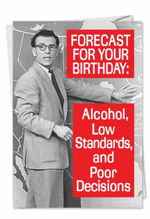 Funny Birthday Card From NobleWorksInc.com - Forecast for Tonight