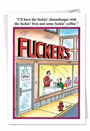 Fuckers Restaurant Rude Diners Fuckin' Birthday Funny Card