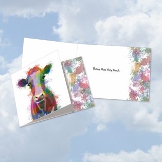 Stylish Thank You Square-Top Card From NobleWorksInc.com - Funky Rainbow Wildlife-Cow