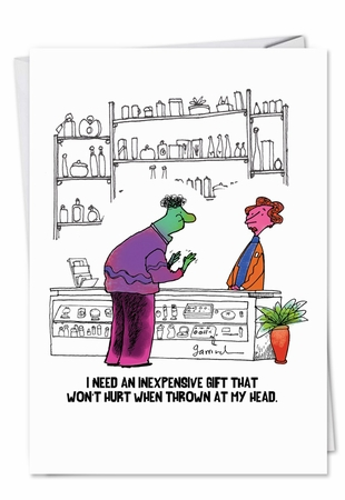 Humorous Birthday Card From NobleWorksInc.com - Thrown at Head