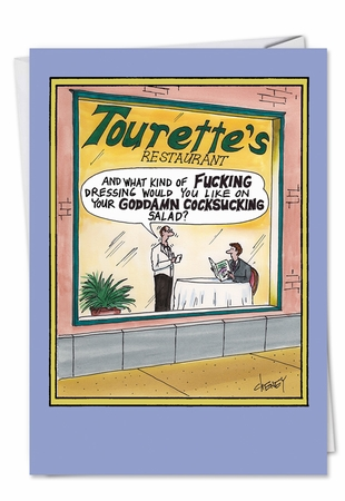 Hilarious Birthday Card From NobleWorksInc.com - Tourettes Restaurant