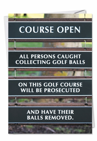 Hilarious Birthday Card From NobleWorksInc.com - Golf Balls Removed
