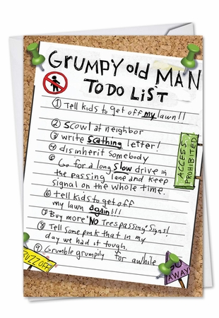 Humorous Birthday Card From NobleWorksInc.com - Grumpy Old Man List