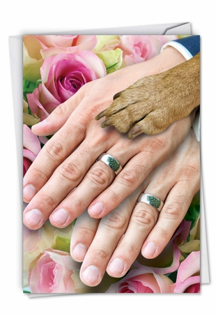 Humorous Wedding Card From NobleWorksInc.com - Hands And Dog Paw Gay