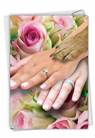 Hysterical Wedding Card From NobleWorksInc.com - Hands And Dog Paw Lesbian
