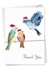 Artful Blank Christmas Thank You Card From NobleWorksInc.com - High Wire Birds