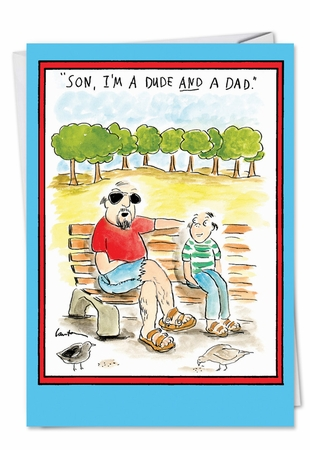 Hilarious Birthday Father Card From NobleWorksInc.com - Hippie Dad Dude