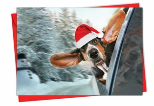 Artistic Christmas Card From NobleWorksInc.com - Holiday Doggie in the Window