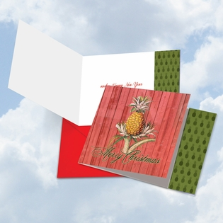 Artful Merry Christmas Square-Top Card From NobleWorksInc.com - Holiday Harvest