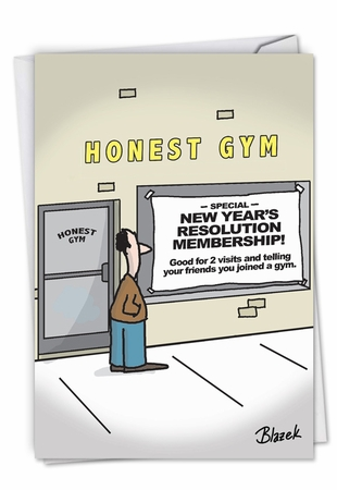 Hysterical New Year Card From NobleWorksInc.com - Honest Gym