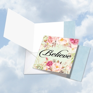 Artistic Blank Square-Top Card From NobleWorksInc.com - In a Word - Believe