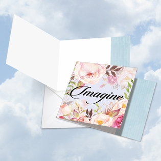 Artful Blank Square-Top Card From NobleWorksInc.com - In a Word - Imagine