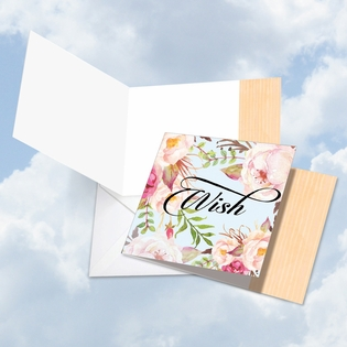 Artistic Blank Square-Top Card From NobleWorksInc.com - In a Word - Wish
