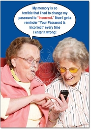 Incorrect Password Funny Birthday Card by NobleWorks
