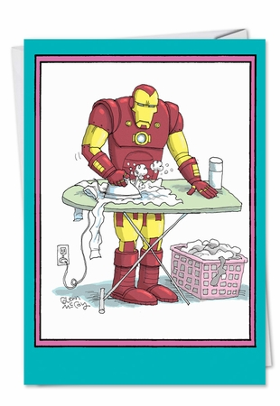 Funny Birthday Mother Card From NobleWorksInc.com - Ironing Iron Man