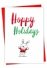 Artful Merry Christmas Card From NobleWorksInc.com - It Was The Pun Before Christmas - Bunny