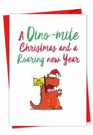 Artistic Merry Christmas Card From NobleWorksInc.com - It Was The Pun Before Christmas - Dino