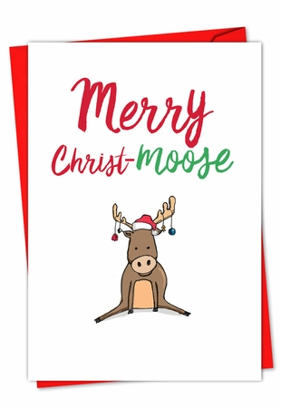 Artful Merry Christmas Card From NobleWorksInc.com - It Was The Pun Before Christmas - Moose