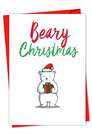 Beautiful Merry Christmas Card From NobleWorksInc.com - It Was The Pun Before Christmas - Polar Bear