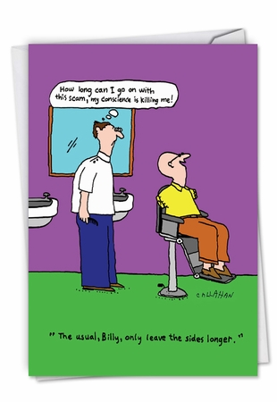Funny Birthday Card From NobleWorksInc.com - John Callahan's Conscientious Barber