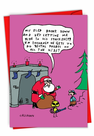 Humorous Merry Christmas Card From NobleWorksInc.com - John Callahan's Santa and Alien Exchange