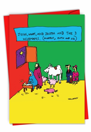 Humorous Merry Christmas Card From NobleWorksInc.com - John Callahan's The 3 Wisemans