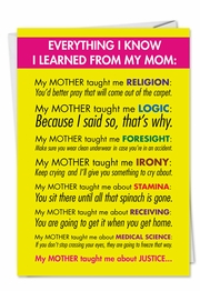 Learned From Mom Mothers Day Funny Card