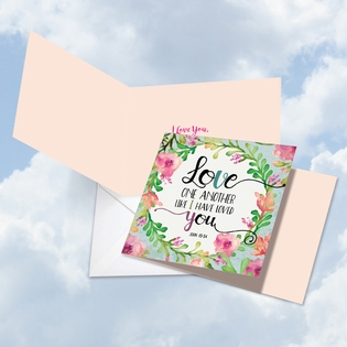 Artful Valentine's Day Square-Top Card From NobleWorksInc.com - Love One Another