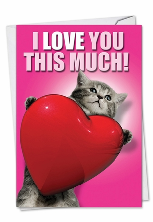 Hilarious Valentine's Day Card From NobleWorksInc.com - Love You This Much Cat