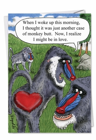 Hysterical Valentine's Day Card From NobleWorksInc.com - Monkey Butt
