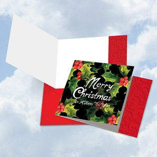 Beautiful Blank Merry Christmas Square-Top Card From NobleWorksInc.com - Multidimensional