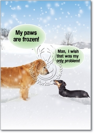 My Paws Are Frozen Funny Christmas Card by NobleWorks and Funny People
