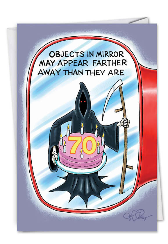 Naughty Humor Objects In Mirror 70 Birthday Card Collins