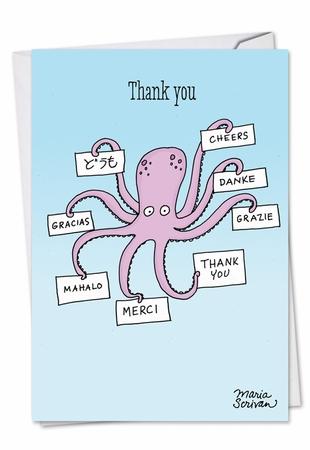 Funny Thank You Card From NobleWorksInc.com - Octopus