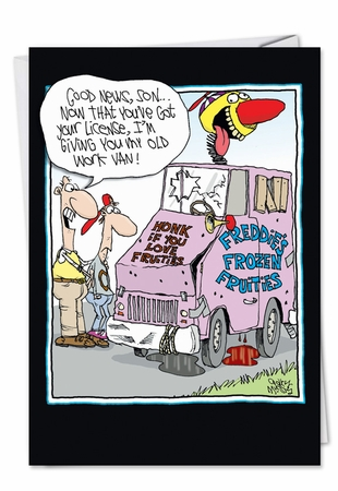 Funny Birthday Father Card From NobleWorksInc.com - Old Clown Car