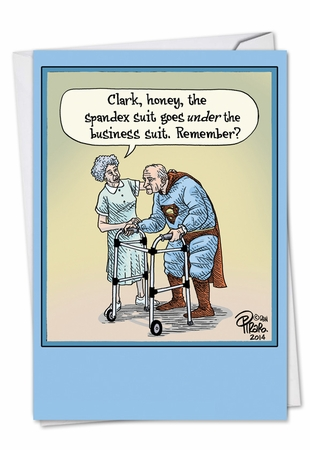 Humorous Birthday Card From NobleWorksInc.com - Old Superman