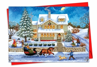 Artful Merry Christmas Card From NobleWorksInc.com - Old Town