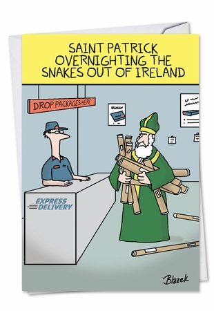 Funny St. Patrick's Day Card From NobleWorksInc.com - Overnighting The Snakes