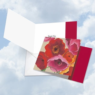 Artistic Thank You Square-Top Card From NobleWorksInc.com - Painted Poppies
