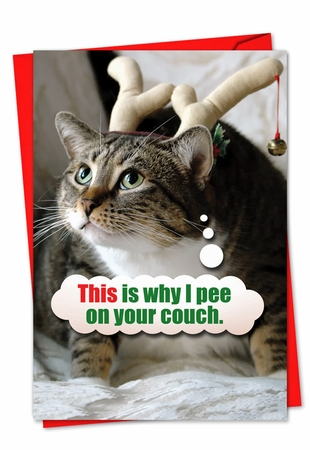 Humorous Christmas Card From NobleWorksInc.com - Pee On Couch
