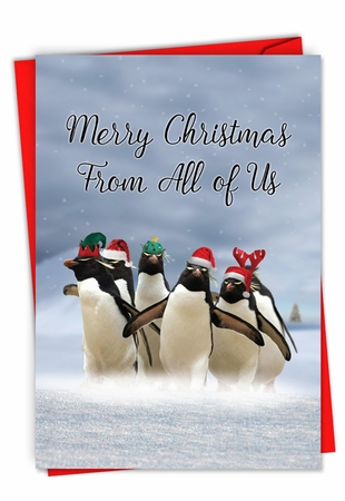 Humorous Merry Christmas Card From NobleWorksInc.com - Penguins and Greetings Christmas From Us
