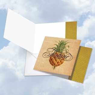 Beautiful Blank Square-Top Card From NobleWorksInc.com - Pineapple Plenty Fortune