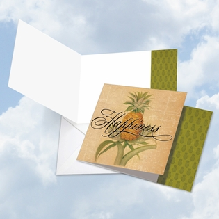 Beautiful Blank Square-Top Card From NobleWorksInc.com - Pineapple Plenty Happiness