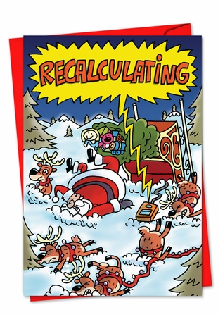 Hysterical Blank Christmas Card From NobleWorksInc.com - Recalculating