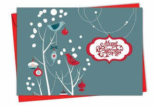 Beautiful Christmas Card From NobleWorksInc.com - Red and Blue Retro