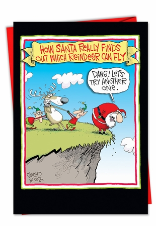 Hysterical Christmas Card From NobleWorksInc.com - Reindeer Can Fly