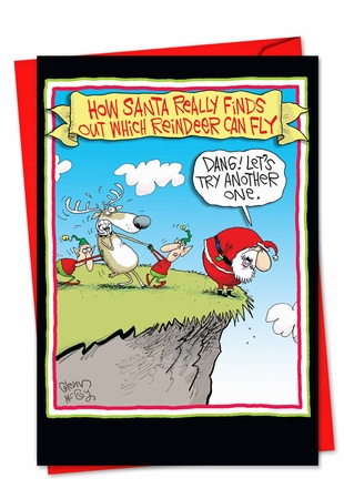 Funny Blank Christmas Card From NobleWorksInc.com - Reindeer Can Fly